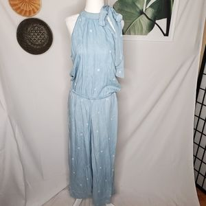 Cloth & Stone Polkadot Chambray Tie Neck Jumpsuit